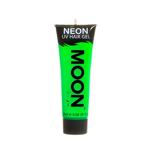 Moon Glow - Blacklight Neon UV Hair Gel - 0.67oz Intense Green - Temporary wash out hair color - Spike and Glow! -
