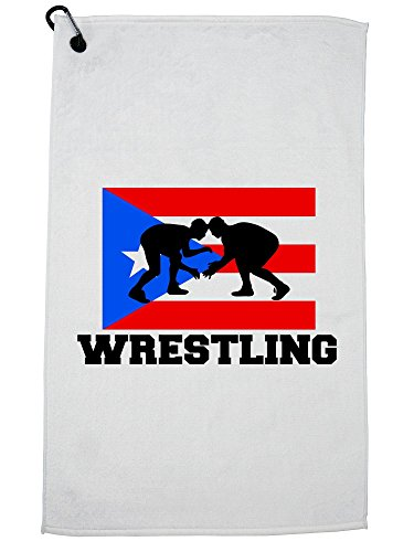Hollywood Thread Puerto Rico Olympic - Wrestling - Flag Golf Towel with Carabiner Clip by Hollywood Thread