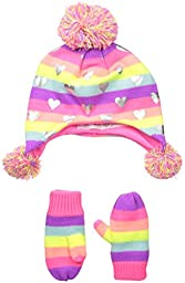 The Children\'s Place Baby-Girls Trapper Hat & Mittens, Multi, Small/12-24 months