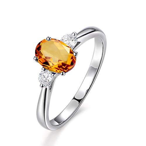 - Epinki 925 Sterling Silver Ring Oval Ring Wedding Brilliant Ring for Women Silver with Yellow Citrine Filigree Ring Diamond Size 6