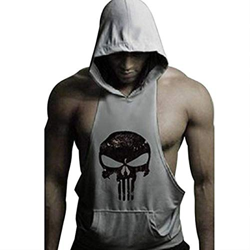 YYW Mens Skull Print Stringer Bodybuilding Gym Tank Tops Workout Fitness Vest (Gray, Large)