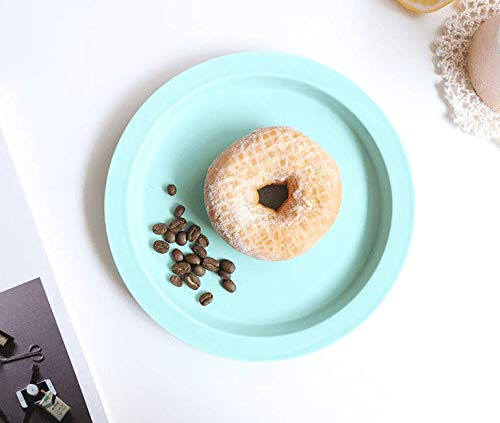 ZZSIccc The Nordic Creative Solid Ceramic Plates Light Up A Flat Tray Breakfast Tray Western Disk Snack Cake Dishes,H