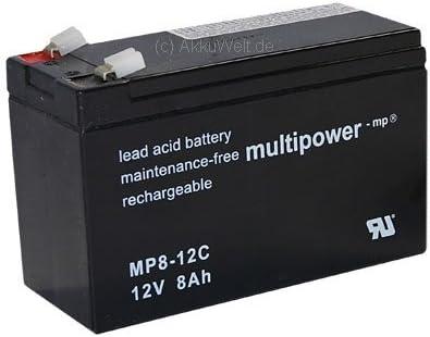 Multi Power MP8–12C PB Conector 6,3mm 12V 8Ah ciclos fijo PB batería de plomo AGM Invacare para Elektra Alber Scala móvil S20viamobil heymer hewo 130160Accu batería battery Bateria batería