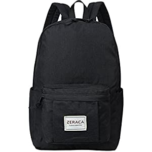 Zeraca Fashion Canvas Laptop Backpack Bookbags for Middle High School College (Black)
