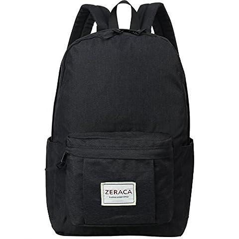 Zeraca Fashion Canvas Laptop Backpack Bookbags for Middle High School College (Black) - Co Black Denim