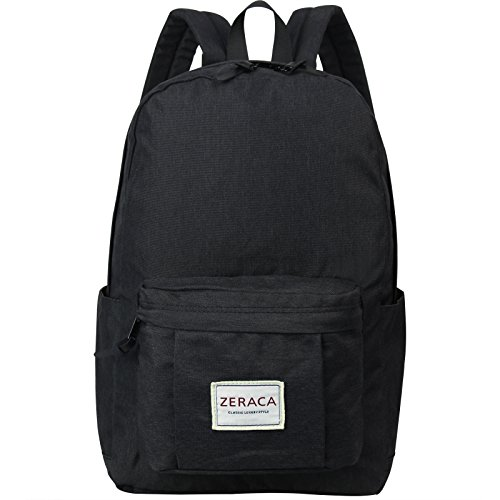 Zeraca Fashion Canvas Laptop Backpack Bookbags for Middle High School College - Buckle Belt Black Cool Red