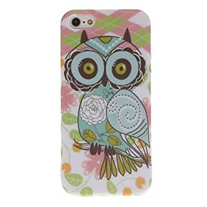 Cartoon Style Owl and Grid Pattern TPU Case for iPhone 5/5S