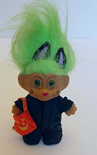 Russ Green Haired Halloween Troll in a Black Cat Costume 3