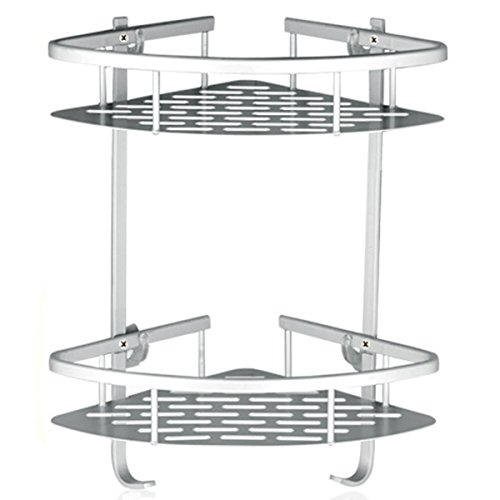 Lancher Bathroom Shelf ( No Drilling ) Durable Aluminum 2 tiers shower shelf Kitchen storage basket Adhesive Suction Corner Shelves