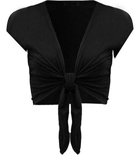 (COMMENCER Womens Short Sleeve Plain Front Tie Bolero Top Cropped Cardigan Shrug Black-L/XL)