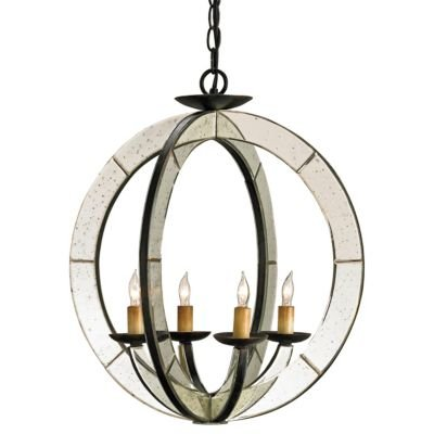 Currey Company 9400 Chandelier with No Shades, Old Iron and Antique Mirror (Currey Iron Chandelier)