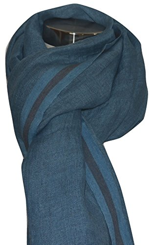 Hand Spun, Handwoven Shorty Weave Pure Linen Fabric Triple Stripe edge Scarf. X1425 by Exclusive Handcrafts