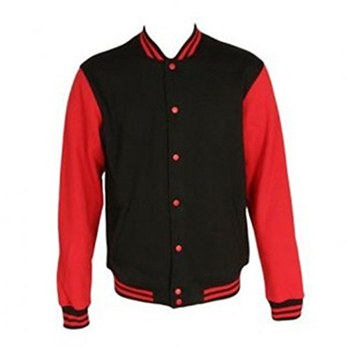 Varsity Jacket Sweat Black Shirt Sleeves Awdis Red Homme q6d1qF