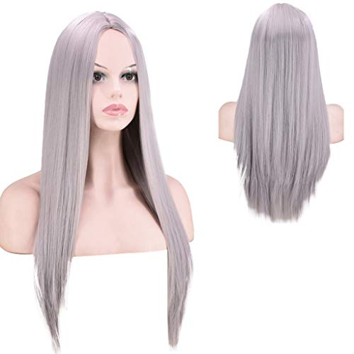 - JYS Long Straight Wigs for Women,Light Grey Long Straight Synthetic Natural Heat Resistant Hair Replacement Wig Natural As Real Hair Party Cosplay Daily Wigs