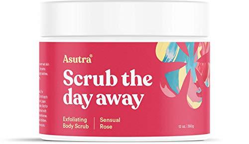 - Asutra, Organic Exfoliating Body Scrub, Sensual Rose, 100% Dead Sea Salt Scrub, Ultra Hydrating and Moisturizing Scrub, Skin Smoothing Jojoba, Sweet Almond, and Argan Oils, 12 oz. Jar