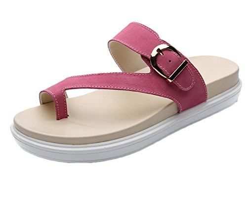 Flat Antidérapant Cuir Runyue Léger pour on Pantoufles Chaussures Soft Pink Femmes Faux Sandales Slip Casual XZq1Zzng