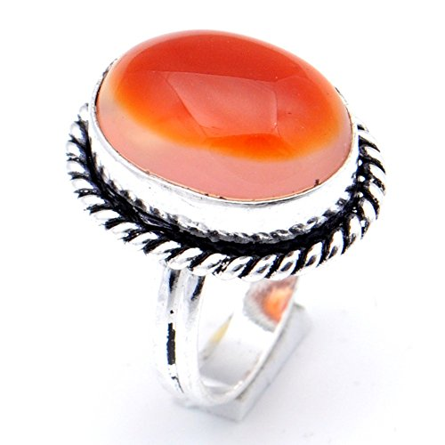 Delicate! Handmade Jewelry! Orange Botswana Agate Sterling Silver Overlay Ring Size 6.25 US ()