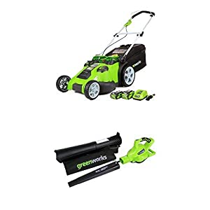 Greenworks 20-Inch 40V Twin Force Cordless Lawn Mower with 40V 185 MPH Variable Speed Cordless Blower Vacuum Battery Not Included 24312