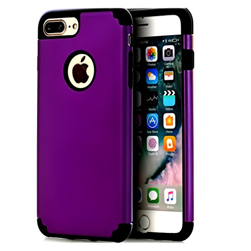 Phone 8 Plus Case,CaseHQ Extreme Heavy Duty Protective soft rubber TPU PC Bumper Case Anti-Scratch Shockproof Rugged Protection Cover for apple iPhone 7/8 Plus phone purple/Black ()