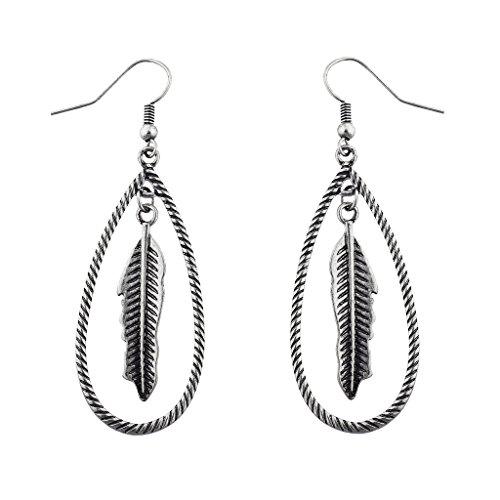 Lux Accessories Boho Burnish Silvertone Casted Feather Open Teardrop Dangle Earrings