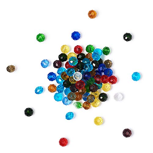Craftdady 200Pcs Random Mixed Colors Faceted Crystal Glass Abacus Beads 8x6mm Mini Tiny Rondelle Spacer Loose Beads for DIY Jewelry Craft Making with 1mm Hole