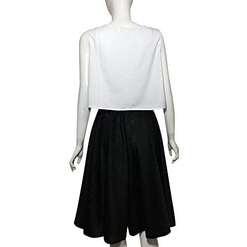 Femmes Haute Patineuse vase Plisse Taille tirable Vintage Jupe Top Robe Noir Malloom Swing xnHwCUSOW