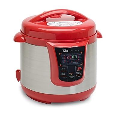 Elite Platinum EPC-808R Maxi-Matic 8 Quart Electric Pressure Cooker, Red (Stainless Steel)