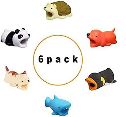 Animal Charger Cable Protector |6 Pack|Hedgehog, Dog, Penguin, Shark, Cat, Penguin|