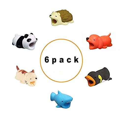 Animal Charger Cable Protector |6 Pack|Hedgehog, Dog, Penguin, Shark, Cat, Penguin| Penguin| Btroam