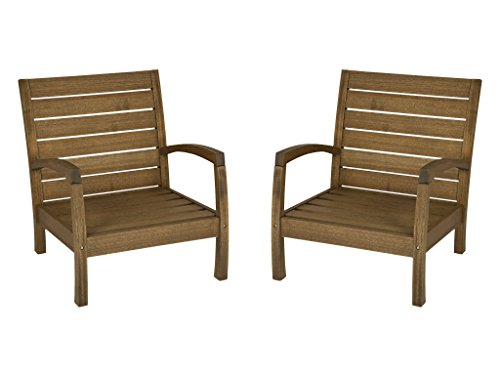 Timbo Vila Rica Hardwood Outdoor Patio Armchairs (Set of 2), Armchair, Brown - Timbo Vila Rica Hardwood Outdoor Patio Armchair - Set of 2 in Brown. You are buying 2 hardwood armchairs for this low price. Solid Eucalyptus Wood, a fast growing renewable tropical hardwood. Butzke, the manufacturer of the Timbo brand, is a FSC certified manufacturer using only plantation grown eucalyptus. Made in Brazil. Designed for outdoor use. Eucalyptus is naturally resistant to the weather with rich brown tones and a straight, light wood grain similar to teak. Eucalyptus will weather to a natural silvery gray color over time unless treated 2-3 times a year with outdoor furniture oil. - patio-furniture, patio-chairs, patio - 412JCu%2BTl4L -