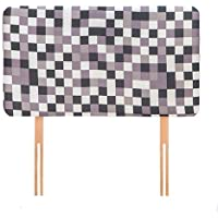 Ready Steady Bed Grey Pixels Design Children's Single Headboard 3ft Bed Size Foam Upholstered