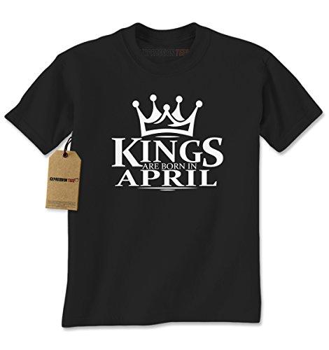 [Mens Kings Are Born In April T-Shirt Medium Black] (Bk King Costume)