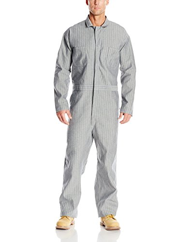 - Red Kap Men's Button Front Cotton Coverall, Fisher Herringbone, 42