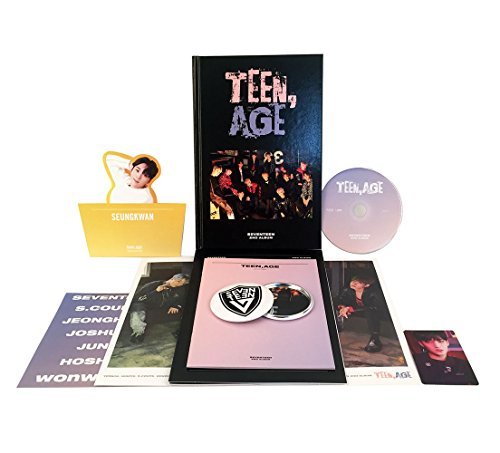 TEEN, AGE [ RS Ver. ] - SEVENTEEN 2nd Album CD + Photo Book + Photo Card + Folding Poster(ON PACK) + Lyrics Paper + Name Sticker + Portrait Desktop Stand + FREE GIFT / K-POP Sealed