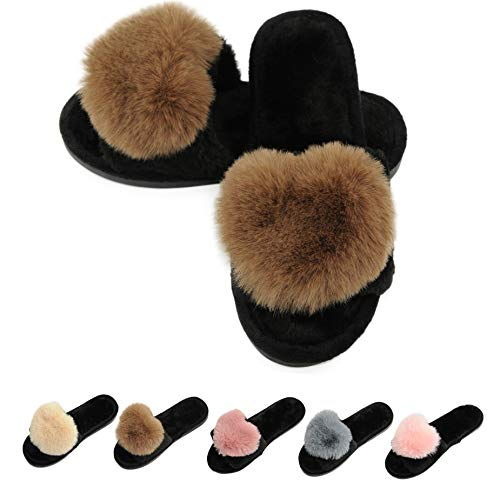 Women's Fur Fluffy Furry Fuzzy Slipper Flip Flop Open Toe Plush Cozy House Sandal Soft Winter Flat Anti-Slip Spa Indoor Outdoor Slip on Slide (01/Brown, 9-10 M US) ()