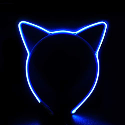 HOME MOST Light Up Cat Ears Headband for Women Girls, Blue - Party Favors Light Up Toys for Kids - LED Flashing Headband Battery Operated - EL Wire Neon Rave Kitty Ear Headband Light for Cosplay Party ()