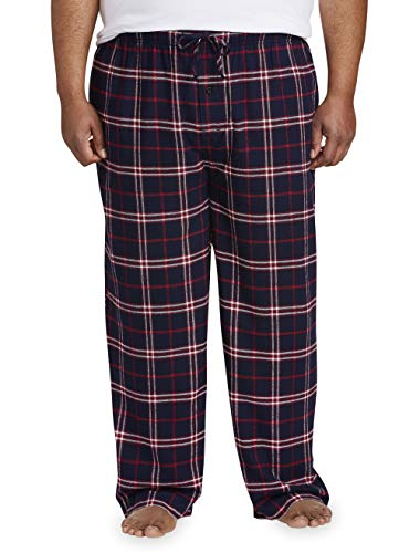 (Amazon Essentials Men's Big & Tall Flannel Pajama Pant fit by DXL, Navy/Red Plaid, 2X)