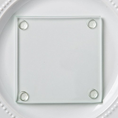 - FavorOnline Perfectly Plain Collection Clear Glass Coasters, 100