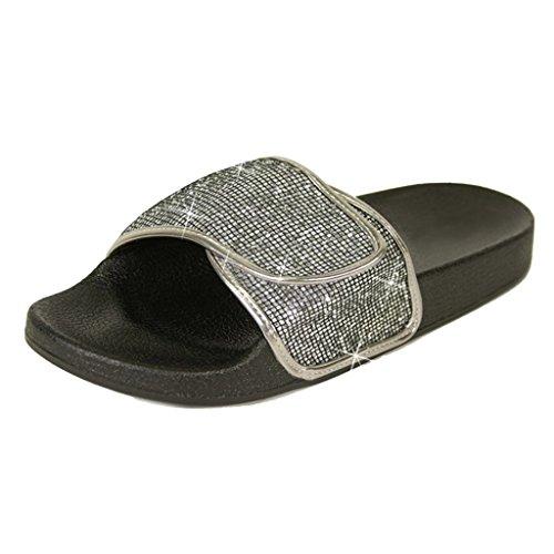 Glissière De Femmes Sur La Chaîne De Paillettes Ruban Plat Sandale Flip Flop Pantoufle Étain Paillettes