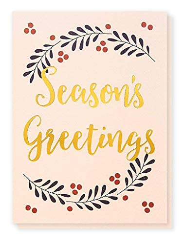 (36-Pack Merry Christmas Greeting Cards Bulk Box Set - Winter Holiday Xmas Greeting Cards with Season's Greetings Typographic Design and Gold Foil Accents, Envelopes Included, 5 x 7 Inches)
