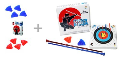 Unitech Toys Office Ninja Blowguns Game with Soft Ammo and a Target plus extra Ammo Refill: Super Fun, Addictive Blowgun Competition Game for Two People or a Group Indoor