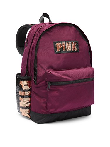 Victoria's Secret Pink Campus Backpack Burgundy Sequin Gold Rose