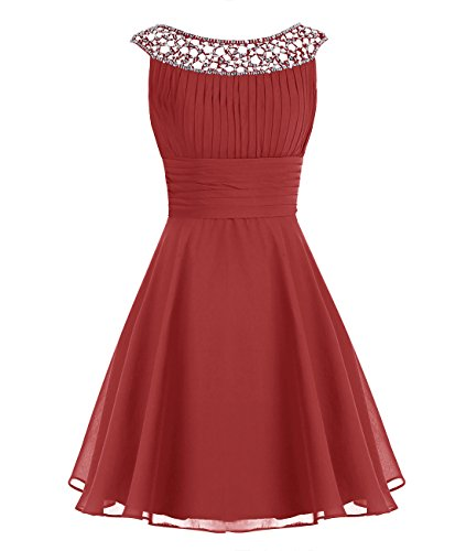 Wedtrend Women's Chiffon Bridesmaid Dress Short Halter Prom Dress WT12002 Dark Red 2