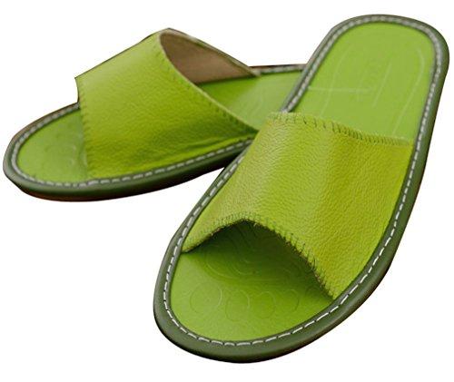 Blubi Mujeres Summer Skid Proof Zapatillas De Cuero Interior Ladies Slippers Green