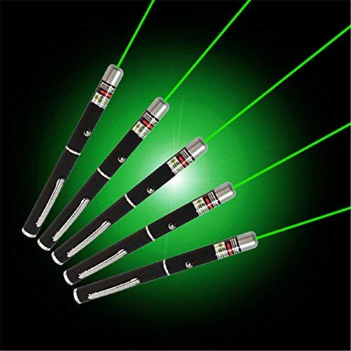 (Green Laser Pointer 5pcs | 5mW 532nm | Hunting Rifle Scope Sight Laser Pen, Remote Laser Pointer Travel Outdoor Flashlight, LED Interactive Baton Funny Laser Pointer Toys for Cats/Dogs)