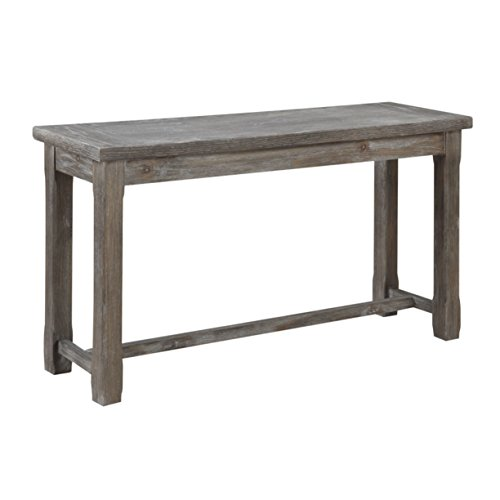 (Emerald Home Paladin Rustic Charcoal Gray Sofa Table with Plank Style Top And Farmhouse Timber Legs)