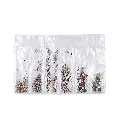 (3D Mix Colors SS3-SS16 6 Mix Sizes Rhinestones Nail Art Crystal Glass Rhinestone (Sizes - 6Size Nail Art 180X Crystal@5))