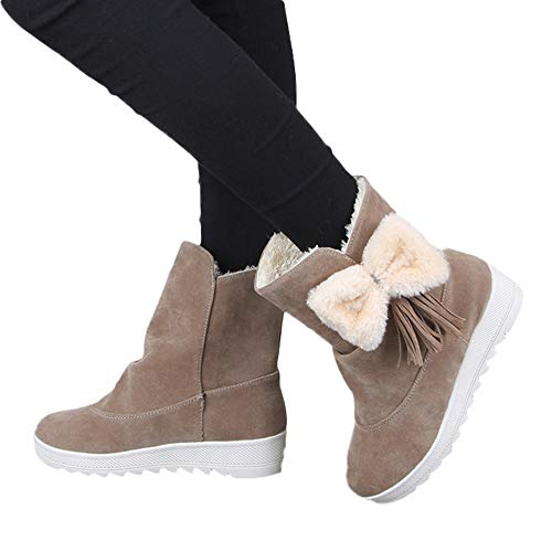 Clearance Farjing Women Snow Boots Solid Color Classical Slip-On Women Casual Shoes(US:6.5,Khaki)
