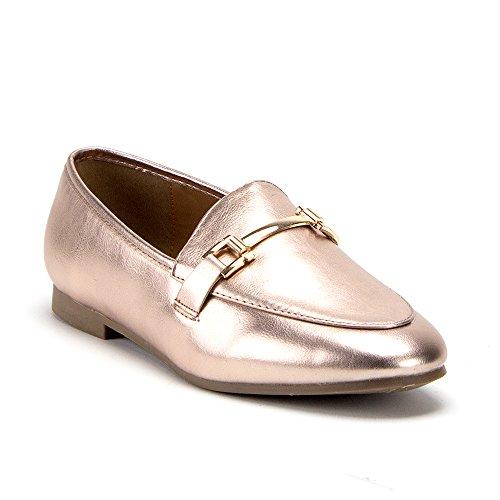 J'aime Aldo Women's Hoppy-1 Horse Bit Slip On Flat Loafer Shoes, Rose Gold, 5.5