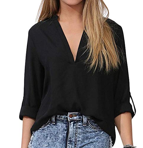 FACE N FACE Women's Summer V Neck Solid Loose Casual Cuffed Long Sleeve Blouses X-Large Black